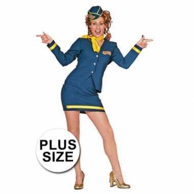 Big size stewardessjurkje blauwOriginele