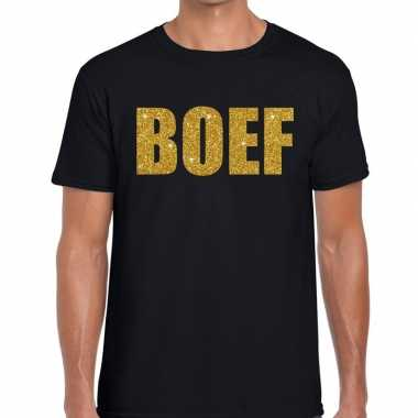 Boef glitter goud tekst t shirt zwart herenoriginele