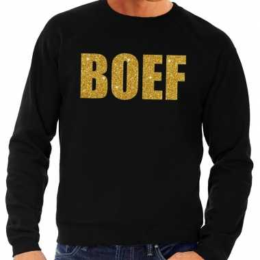 Boef gouden glitter tekst sweater zwart herenoriginele