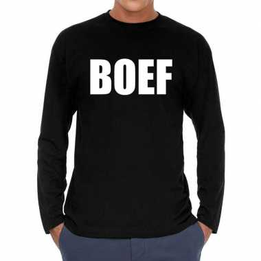 Boef long sleeve t shirt zwart herenoriginele