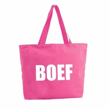 Boef shopper tas fuchsia roze