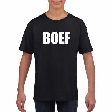 Boef tekst t shirt zwart kinderenoriginele