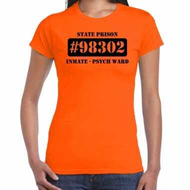 Boeven / gevangenen psych ward verkleed shirt oranje damesoriginele