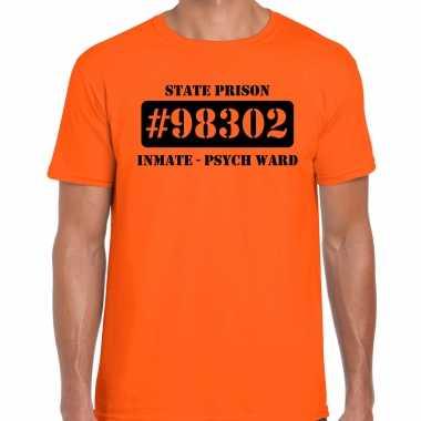 Boeven / gevangenen psych ward verkleed shirt oranje herenoriginele