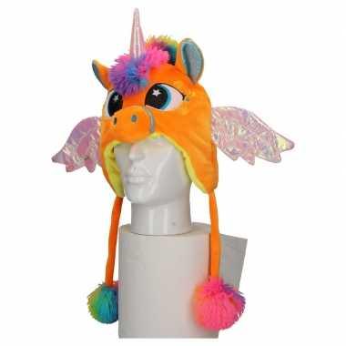Carnaval eenhoorn muts kids oranjeoriginele