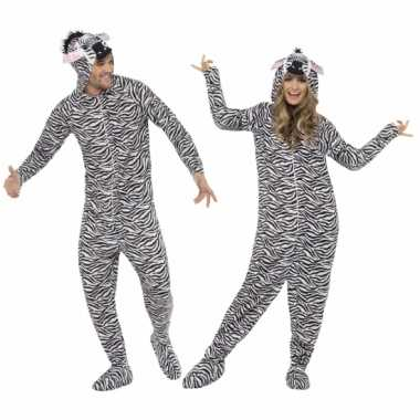 Carnavalsoutfit zebra all-one volwassenenOriginele