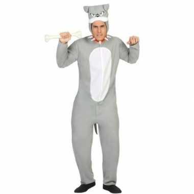 Dierenpak pit bull hond verkleed carnavalsoutfit grijs volwassenenori