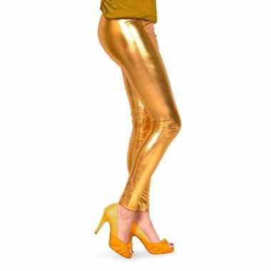 Feestartikelen glimmende gouden dames legging