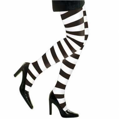 Heksen verkleedaccessoires panty maillot zwart/wit damesoriginele