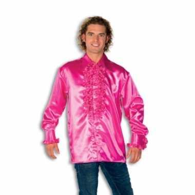 Overhemd roze rouches herenOriginele
