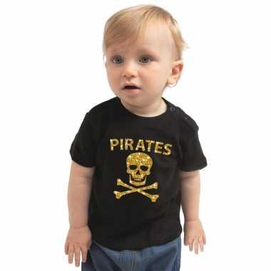 Piraten carnavalsoutfit shirt goud glitter zwart peutersoriginele