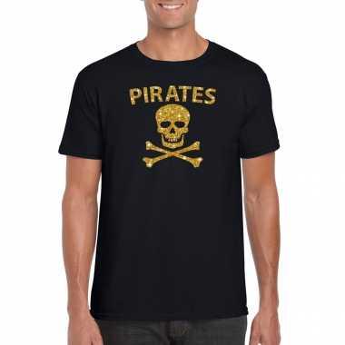 Piraten shirt / foute party verkleed carnavalsoutfit / outfit goud glitter zwart herenoriginele