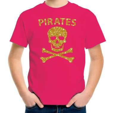 Piraten shirt verkleed shirt goud glitter roze kinderenoriginele