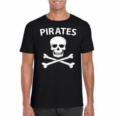 Piraten verkleed shirt zwart herenoriginele
