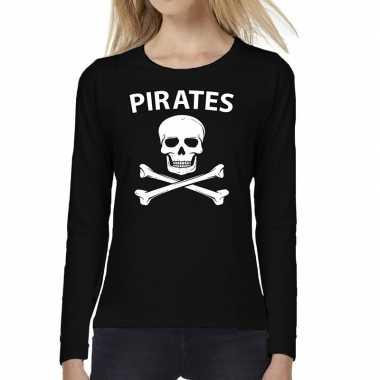 Pirates tekst t shirt long sleeve zwart damesoriginele
