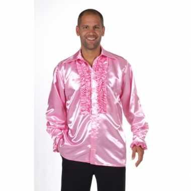 Satijnen roze blouse rouchesOriginele