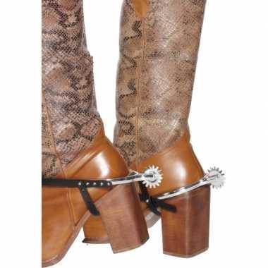 Zilveren cowboy verkleed sporen laarzen