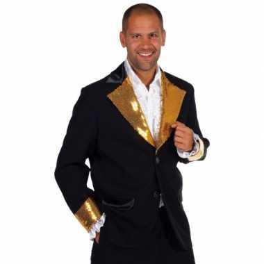 Zwart goud glitter carnavalsoutfit heren