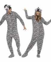 Carnavalsoutfit zebra all one volwassenen