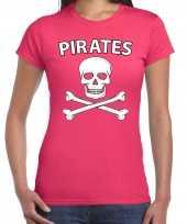 Fout piraten shirt foute party verkleed shirt roze dames